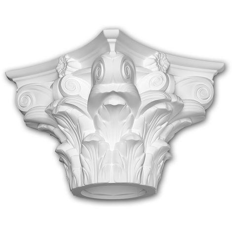 Full column capital Profhome 411302 Exterior trim Column Facade element Corinthian style white