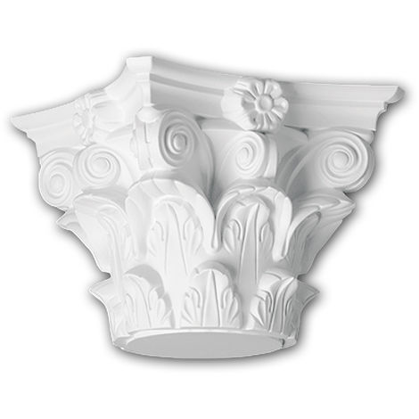 Full column capital Profhome 441301 Exterior trim Column Facade element Corinthian style white