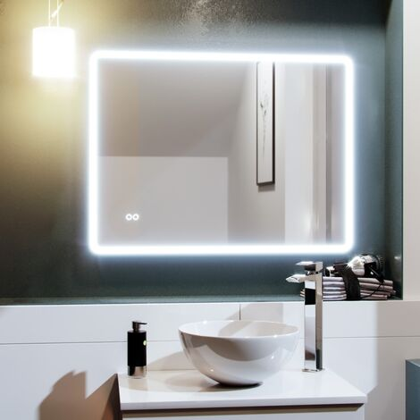 Full Edge LED 800mm x 600mm Round Corner Bathroom Mirror