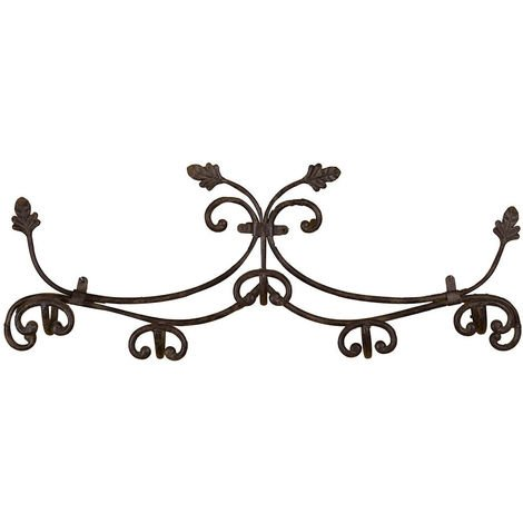 Full wrought iron antiqued rust finish wall hanger W100xDP12xH37 cm sized