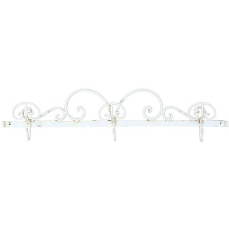 Full wrought iron made antiqued white finish wall hanger W86xDPxH21 cm sized