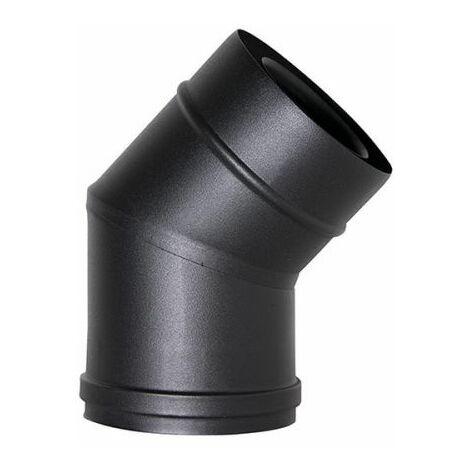 fumée COAXIAL tuyau noir D. 80/130 45 ° COURBE 316 CE poêle à granulés en acier fabriqué en Italie UNI 1856/2