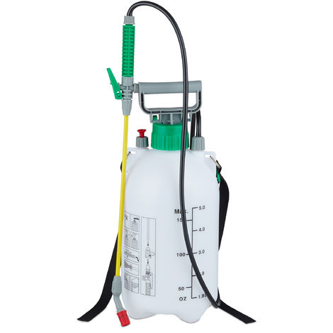 Fumigadora Pulverizador 5 Litros, A presión, Rociador Jardín, Manguera y Lanza, 3 bar, 44cm, Plástico, Blanco