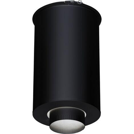 Fumisterie émaillée pour poêle à bois - Elément droit de finition plafond - Ht 45 cm Ø 230 inox galva - Couleur : Noir