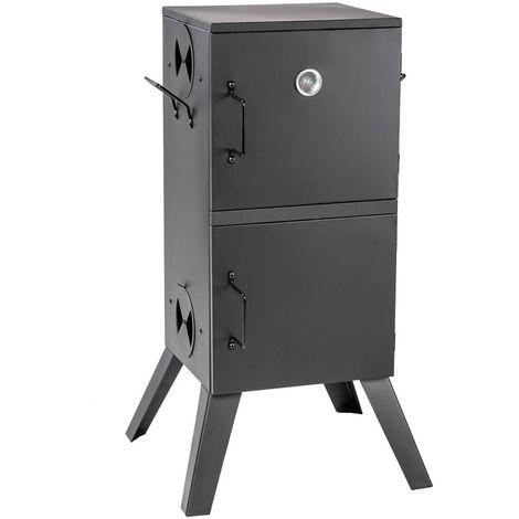 Fumoir à Viande et Poisson en Acier 54 cm x 50,5 cm x 100 cm Noir + Accessoires