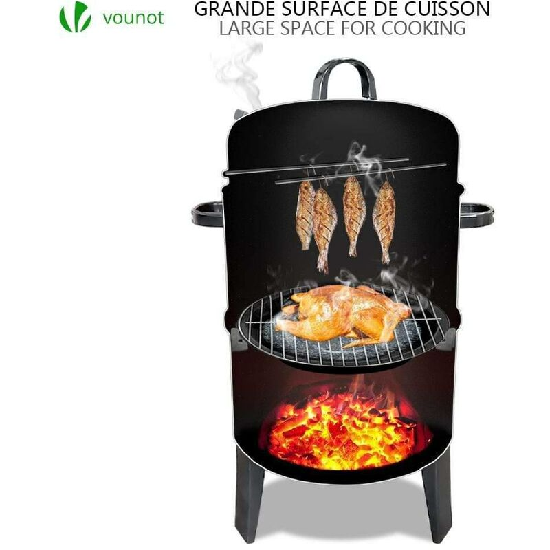 Vounot Barbecue Fumoir Smoker Multifonctions|BBQ 3 en 1