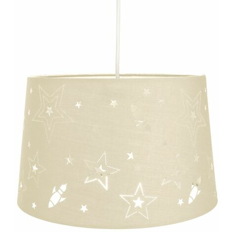 Fun Rockets and Stars Childrens/Kids Cream Cotton Bedroom Pendant or Lamp Shade by Happy Homewares