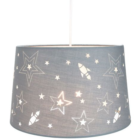 Fun Rockets and Stars Childrens/Kids Grey Cotton Bedroom Pendant or Lamp Shade by Happy Homewares