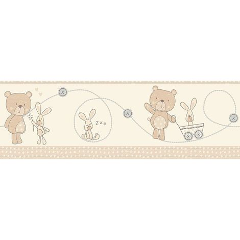 Fun4Walls Bear Boo Self Adhesive Wallpaper Border Rabbit Hearts Cream Beige