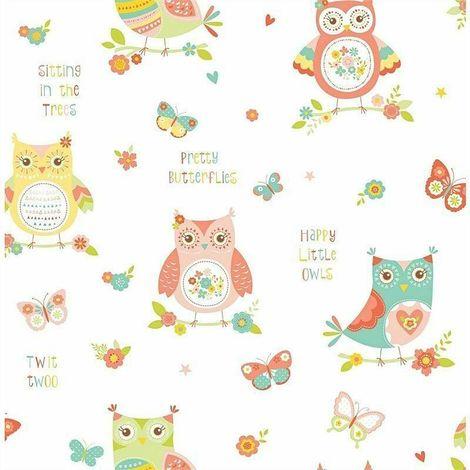 Fun4Walls Happy Owls Wallpaper