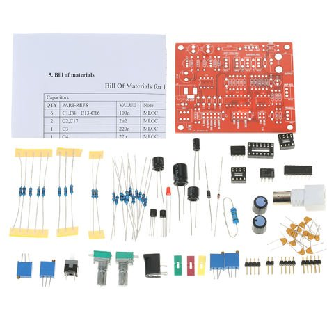 Funcion de generador de senal de DIY Kit cuadrado / triangulo / salida de onda sinusoidal 3 Hz-300 kHz de frecuencia ajustable de amplitud, 1 #