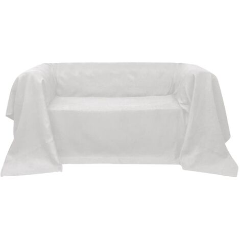 Funda color crema para sofá de micro-gamuza, 270 x 350 cm