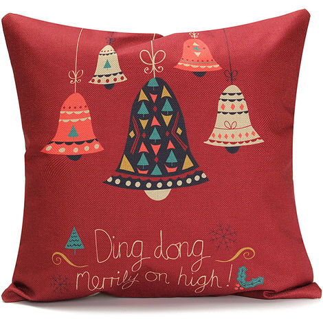 Funda de cojín Christmas Party Square Pillowcase Sofa Home Decor D Sasicare