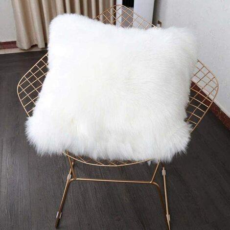 Funda de cojín LangRay, sofá decorativo de lujo de piel sintética, cama para dormitorio, funda de almohada de Mongolia de felpa súper suave, 45 x 45 cm (blanco)