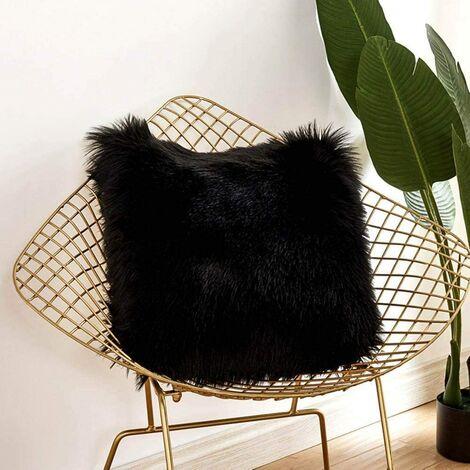 Funda de cojín LangRay, sofá decorativo de lujo de piel sintética, cama para dormitorio, funda de almohada de Mongolia de felpa súper suave, 45 x 45 cm (negro)