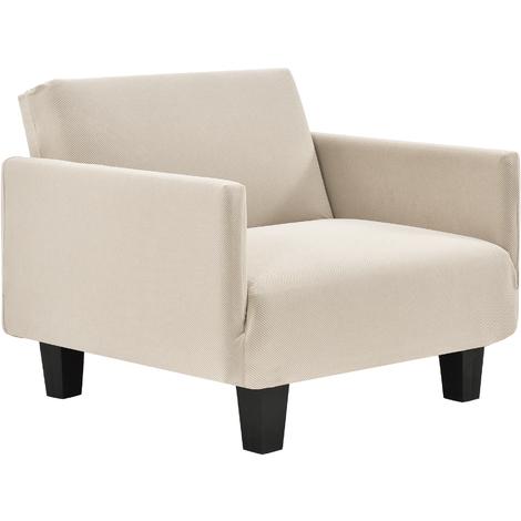 Funda de sillón color arena para sillón de 70-120 cm de ancho - funda para mueble extensible, material elástico