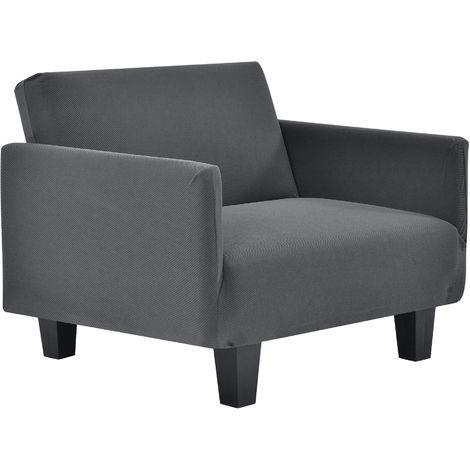 Funda de sillón gris oscuro para sillón de 70-120 cm de ancho - funda para mueble extensible, material elástico