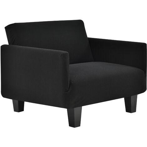 Funda de sillón negro para sillón de 70-120 cm de ancho - funda para mueble extensible, material elástico