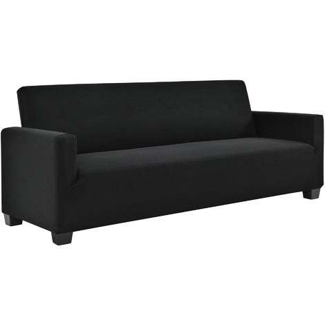 Funda de sillón negro para sofá de 140-210 cm de ancho - funda para mueble extensible, material elástico