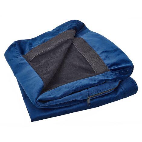 Funda de sofá 3 plazas de terciopelo azul BERNES