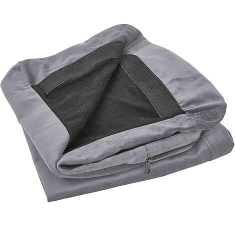 Funda de sofá 3 plazas de terciopelo gris BERNES