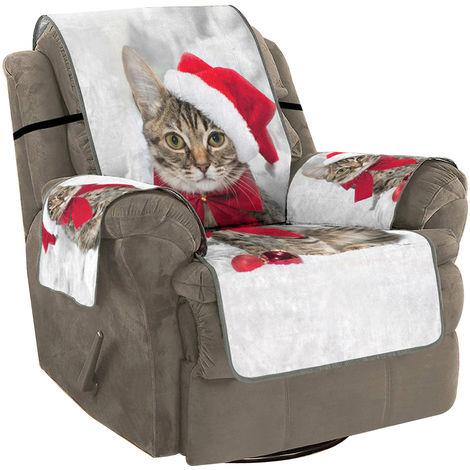 Funda de sofá Cojín Protección de alfombra Gato Navidad HD Impresión Digital 3D Extraíble Lavable