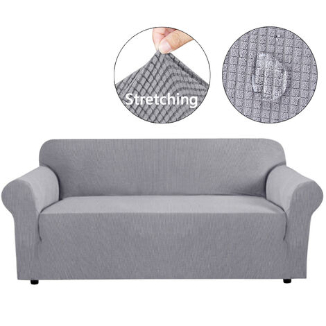 Funda de sofá de 4 plazas elástica impermeable gris claro