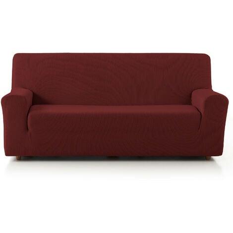 Funda de Sofá Elástica Adaptable. Modelo Rustica. Rojo Sofá 3 Plazas