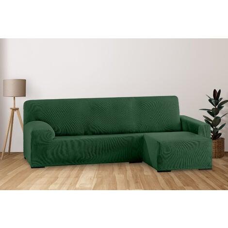 Funda de Sofá Elástica Adaptable. Modelo Rustica. Verde Chaise Longue Corto Derecha