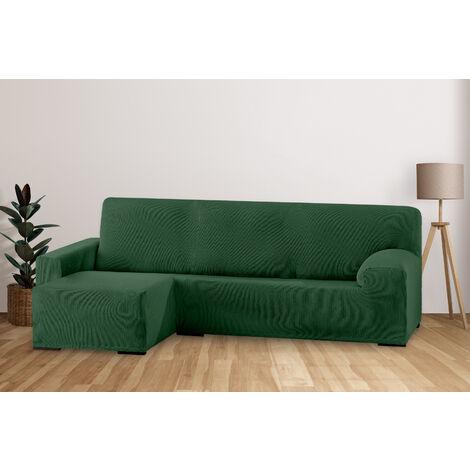 Funda de Sofá Elástica Adaptable. Modelo Rustica. Verde Chaise Longue Corto Izquierda