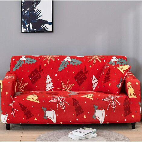 Funda de sofá navideña 1 2 3 Fundas de sofá de tela elástica con funda de almohada, Funda / protector universal para muebles para sillón Sofá-A