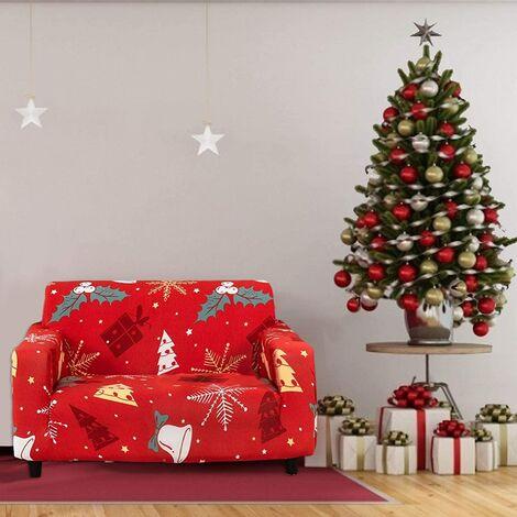 Funda de sofá navideña 1 2 3 Fundas de sofá de tela elástica con funda de almohada, Funda / protector universal para muebles para sillón Sofá-B
