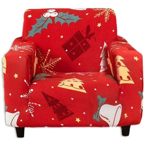 Funda de sofá navideña 1 2 3 Fundas de sofá de tela elástica con funda de almohada, Funda / protector universal para muebles para sillón Sofá-C