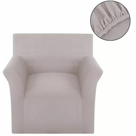 funda elastica de tela acanalada para sofa color beige