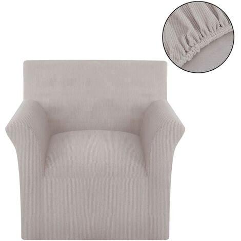 funda elástica de tela acanalada para sofá color beige - Beige