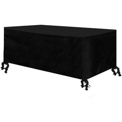Funda para muebles de jardín Funda protectora impermeable para mesa y sillas de jardín Funda protectora para grupo de asientos Funda protectora Oxford negro 170 x 94 x 70 cm