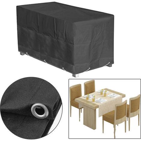 Funda protectora Cobertura Muebles para mesas y sillas Funda de muebles cubierta Cubierta de lluvia Negro 160x100x65cm