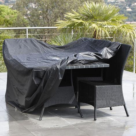 Funda protectora para mesas y sillas Funda de muebles cubierta Cubierta de lluvia Negro 180 x 112 x65cm