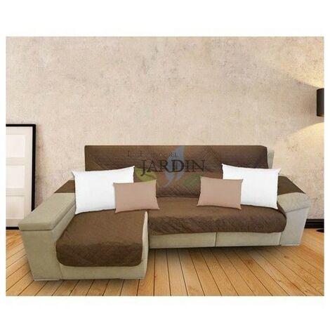 Funda protectora sofá chaise longue marrón y beige