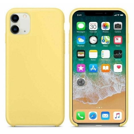 Funda silicona iphone 11 textura suave Amarillo claro