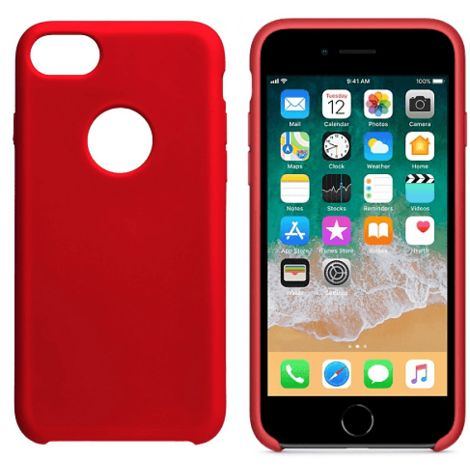 Funda silicona iphone 7 agujero logo textura suave Rojo