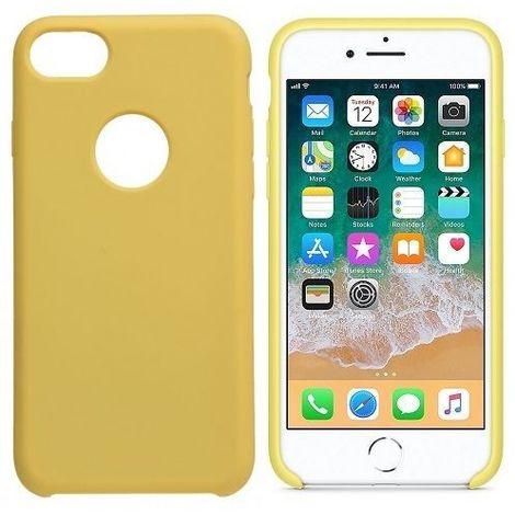 Funda silicona iphone 8 agujero logo textura suave Amarillo claro