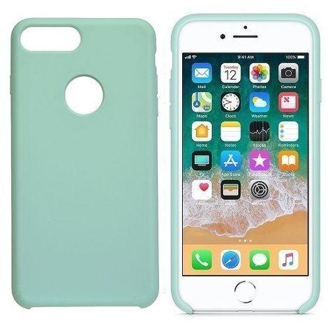 Funda silicona iphone 8 agujero logo textura suave Verde claro
