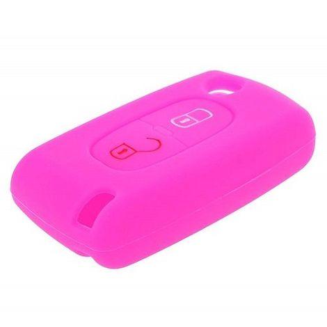 Funda silicona mando llave del coche 2 botones Rosa