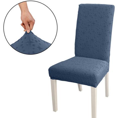 Funda Silla de comedor, alto estiramiento extraible para sillas de cubierta de la silla del asiento lavable cubierta del protector, Jacquard Patron, azul marino