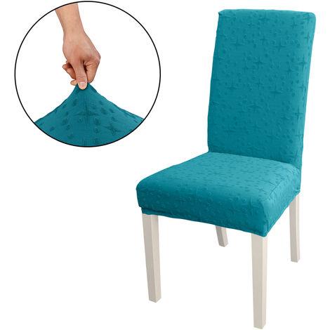 Funda Silla de comedor, alto estiramiento extraible para sillas de cubierta de la silla del asiento lavable cubierta del protector, Jacquard Patron, azul pavo real