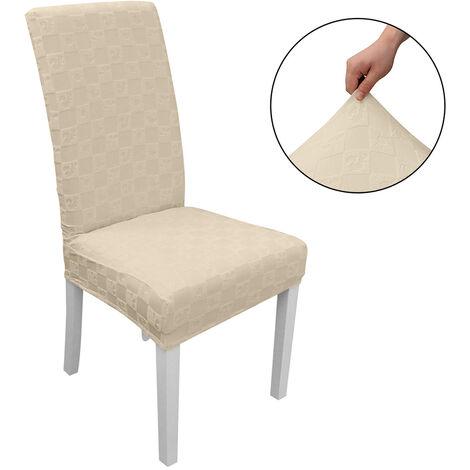 Funda Silla de comedor, alto estiramiento extraible para sillas de cubierta de la silla del asiento lavable cubierta del protector, Jacquard Patron, Beige