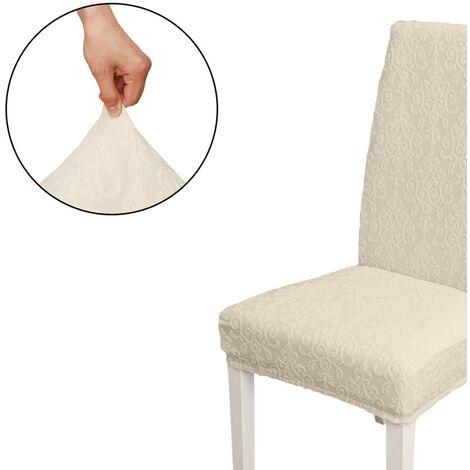 Funda Silla de comedor, alto estiramiento extraible para sillas de cubierta de la silla del asiento lavable cubierta del protector, Jacquard Patron, cubierta de la silla de fundas, Beige