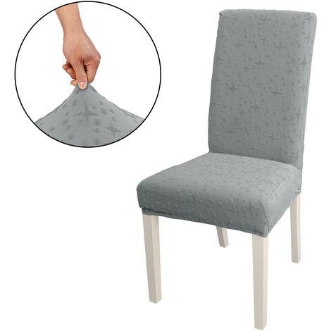 Funda Silla de comedor, alto estiramiento extraible para sillas de cubierta de la silla del asiento lavable cubierta del protector, Jacquard Patron, gris