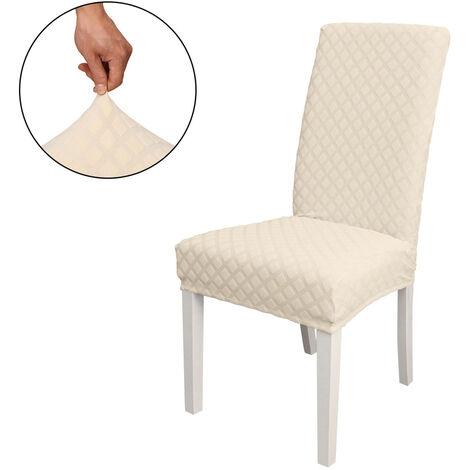 Funda Silla de comedor, alto estiramiento extraible para sillas de cubierta de la silla del asiento lavable cubierta del protector, Jacquard Rombo, cubierta de la silla de fundas para la ceremonia de inicio del partido boda del hotel, Beige